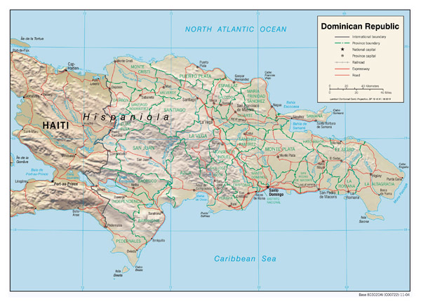 Large detailed relief and road map of Dominican Republic.
