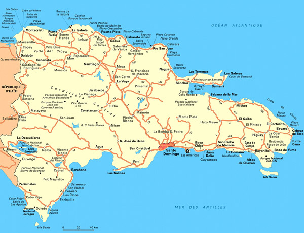 Large detailed road and tourist map of Dominican Republic.