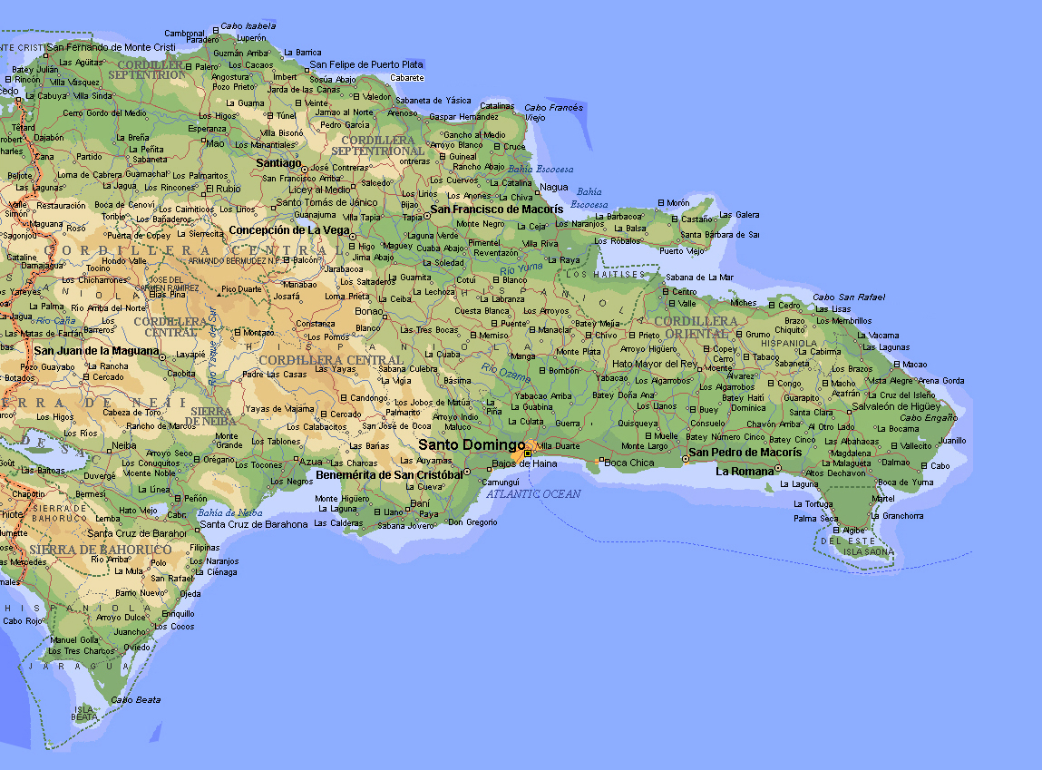 Large detailed topographical map of Dominican Republic with cities