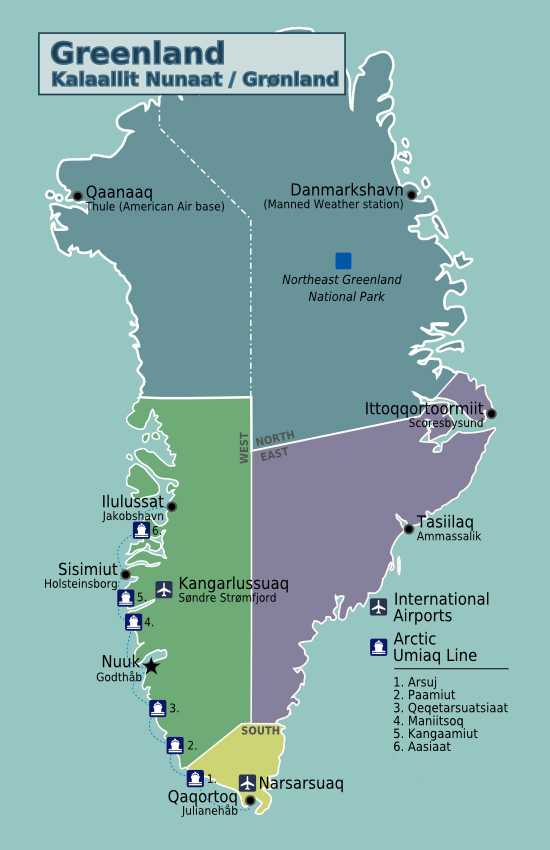 Detailed political map of Greenland. Greenland detailed political map.