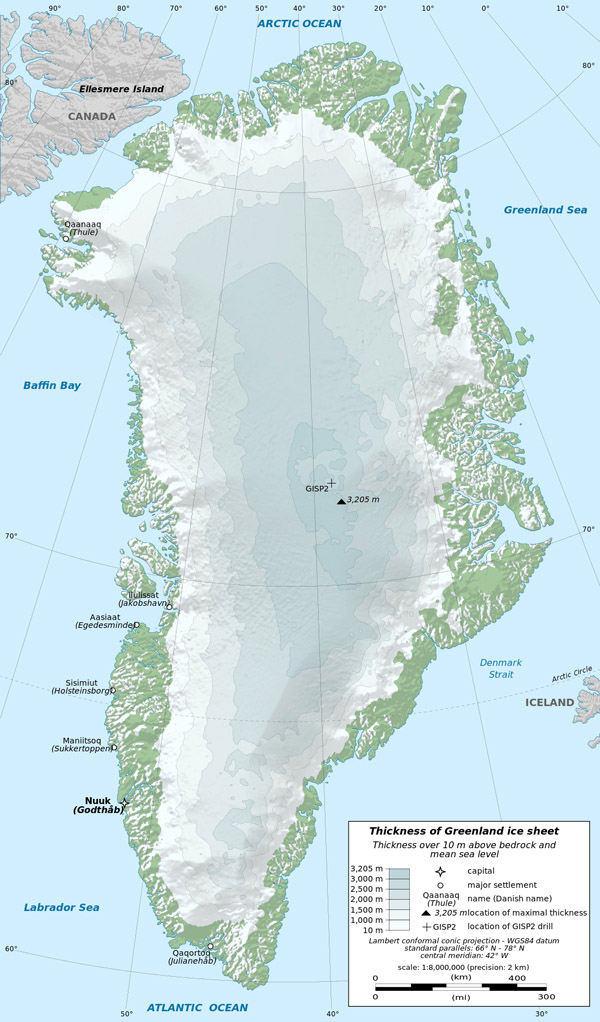 Large detailed physical map Greenland with cities.