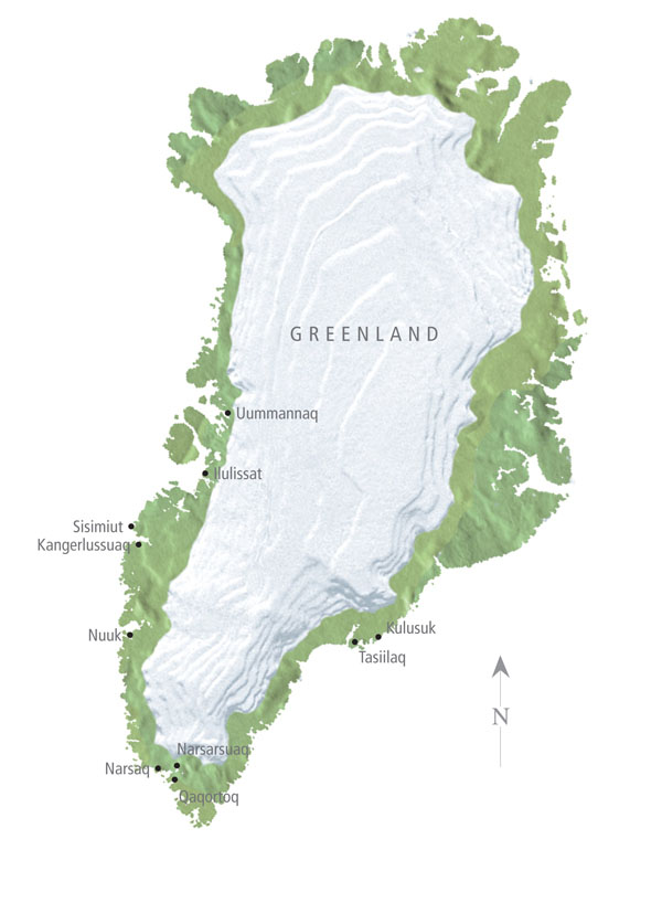 Large detailed relief map of Greenland with cities.