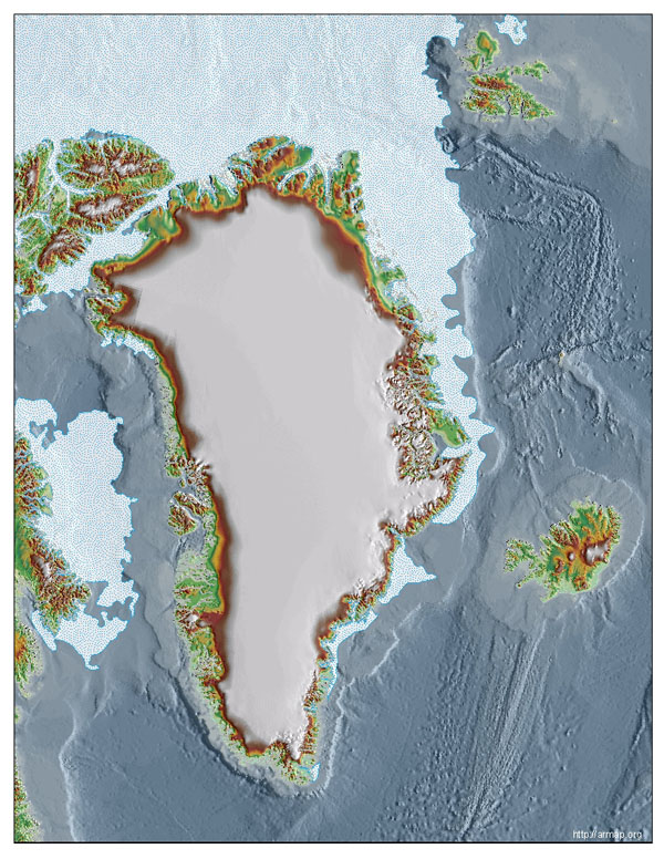 Topographic base map of Greenland. Greenland topographic base map.