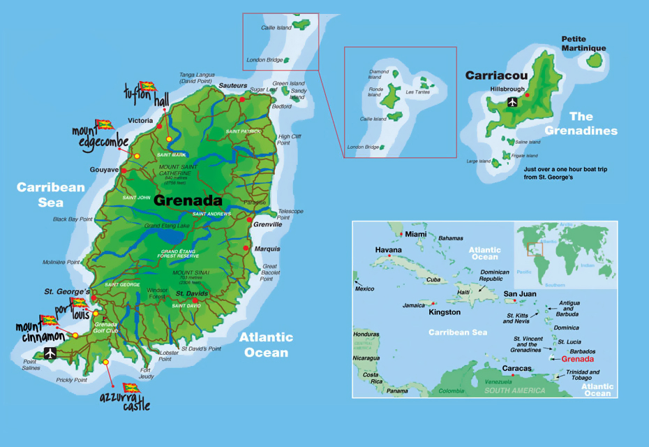 Detailed map of Grenada Grenada detailed map Vidianicom Maps