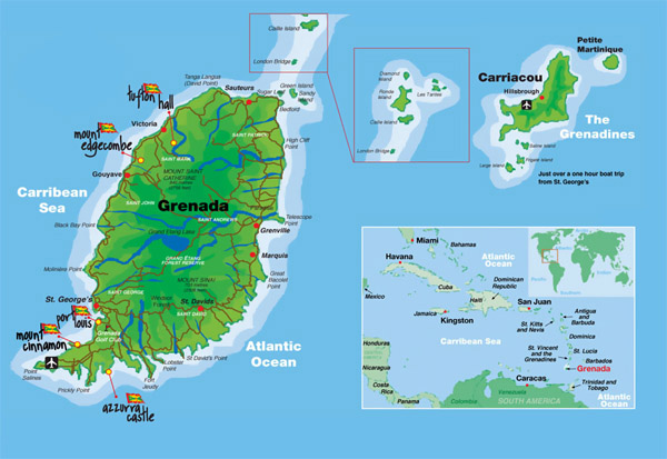 Detailed map of Grenada. Grenada detailed map.