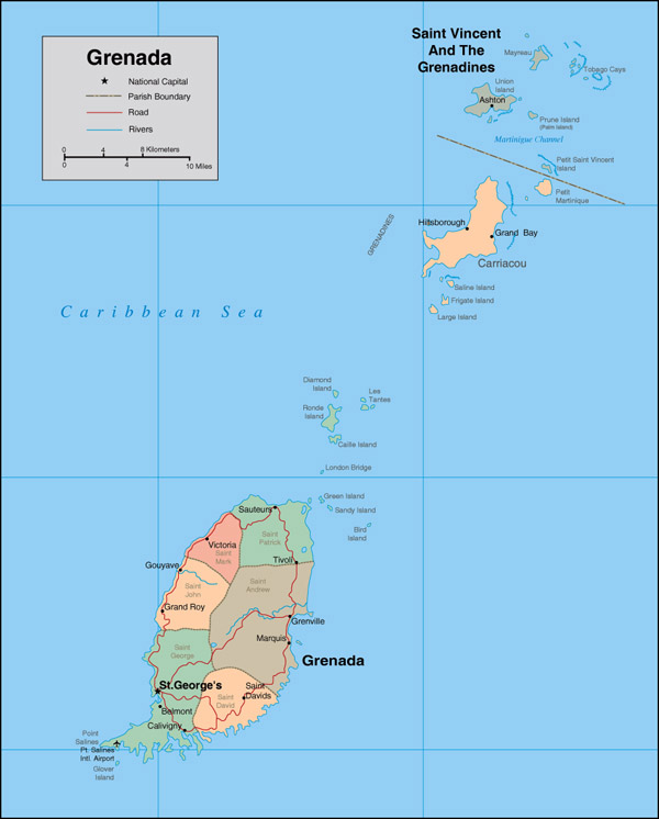 Detailed political map of Grenada. Grenada detailed political map.
