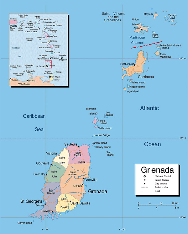 Large detailed political and administrative map of Grenada.