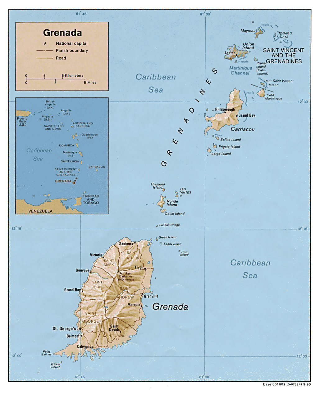 Large detailed relief and administrative map of Grenada Grenada