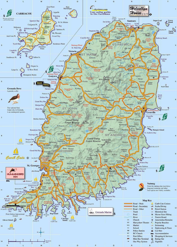 Large detailed road map of Grenada island. Grenada island large detailed road map.