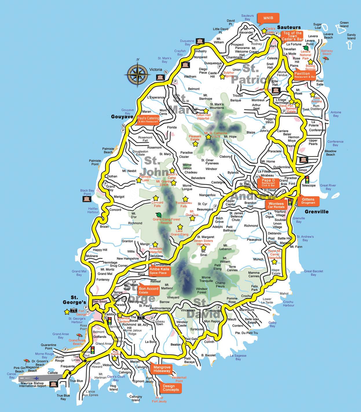 Large detailed tourist map of Grenada Grenada large detailed