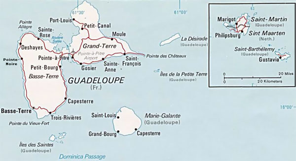 Detailed political and road map of Guadeloupe.
