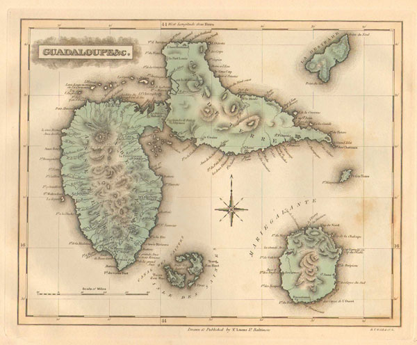 Large detailed old map of Guadeloupe. Guadeloupe large detailed old map.