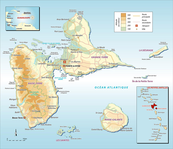 Large detailed road and physical map of Guadeloupe.