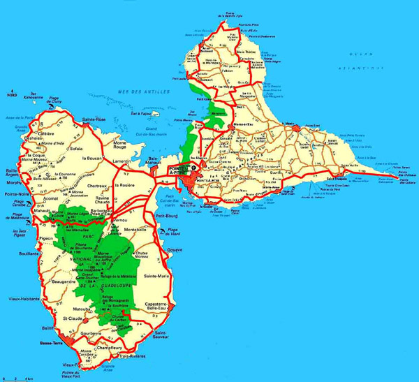 Large detailed road map of Guadeloupe. Guadeloupe large detailed road map.