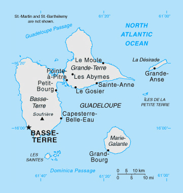 Political map of Guadeloupe. Guadeloupe political map.