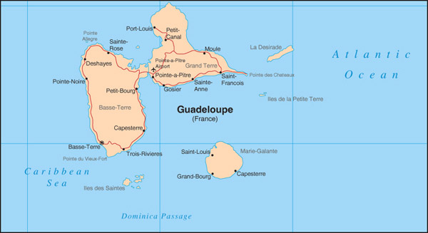 Road map of Guadeloupe with cities. Guadeloupe road map with cities.