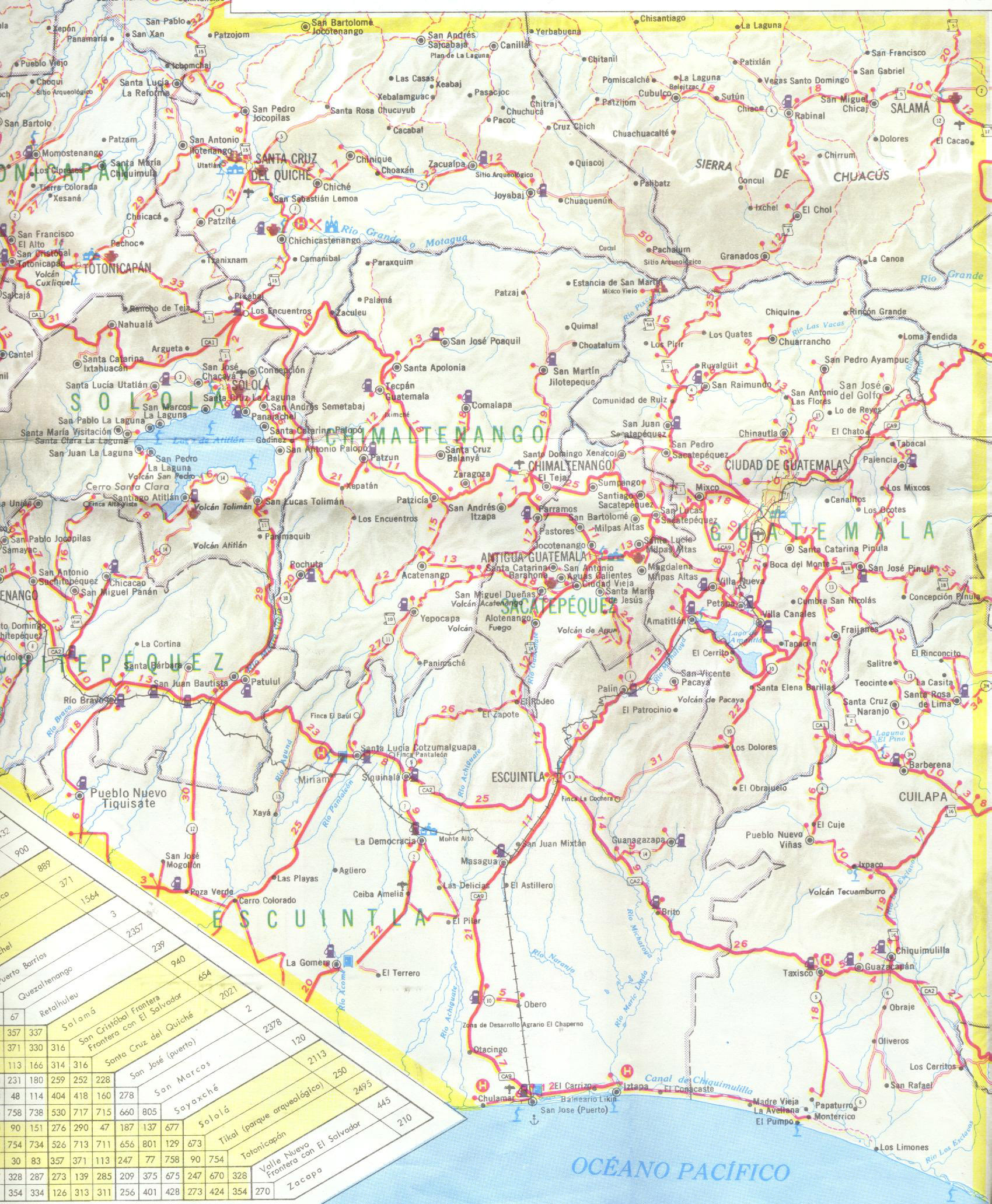 SouthCentral Guatemala detailed road map Detailed road map of