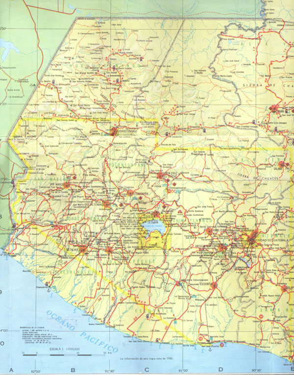 Western Guatemala detailed road map. Detailed road map of Western Guatemala.