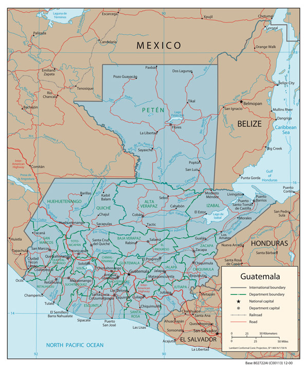 Guatemala detailed political map. Detailed political map of Guatemala.