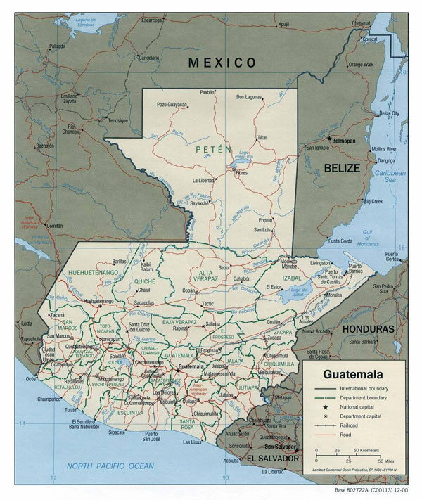Large detailed administrative map of Guatemala.