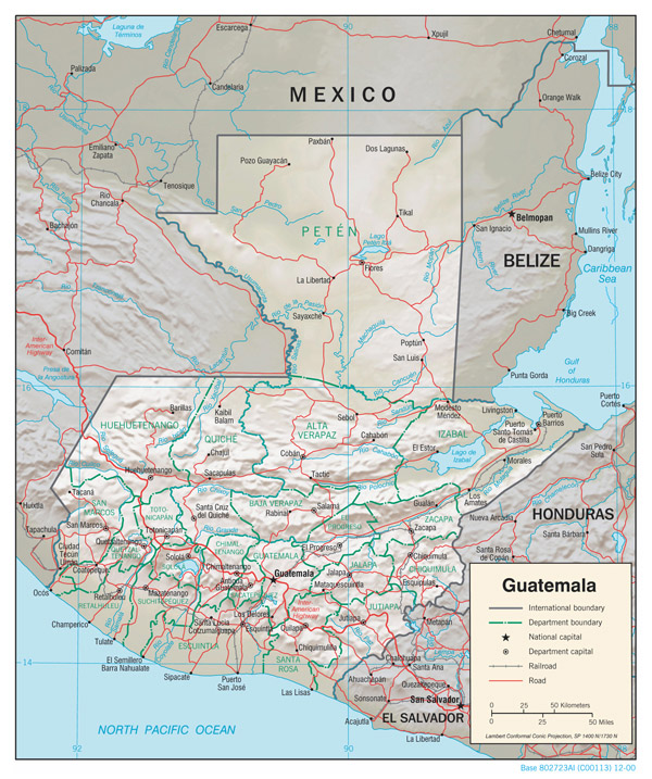 Large detailed relief and political map of Guatemala.