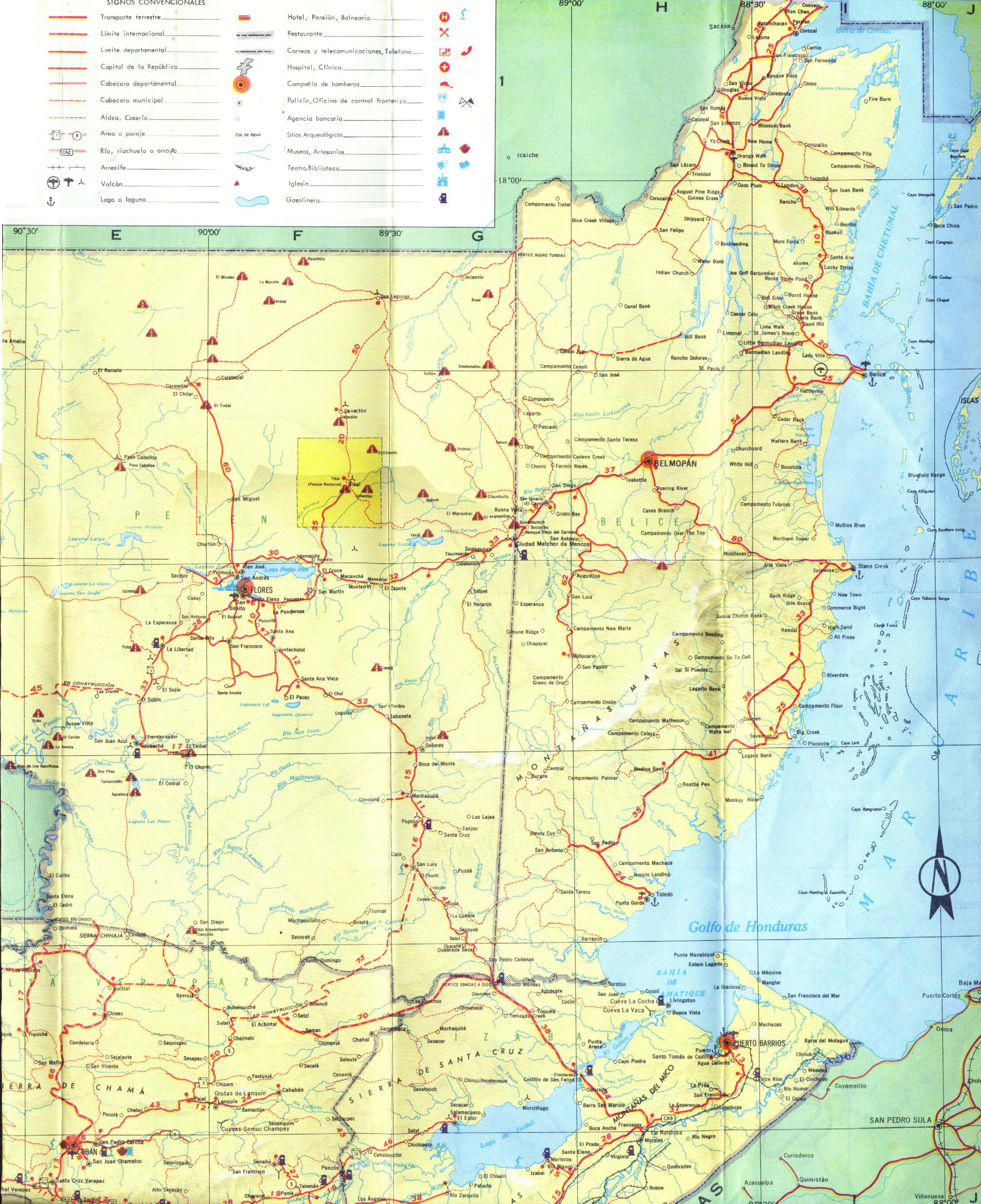 Large detailed road map of Belize and Guatemala Belize and – Belize Tourist Map