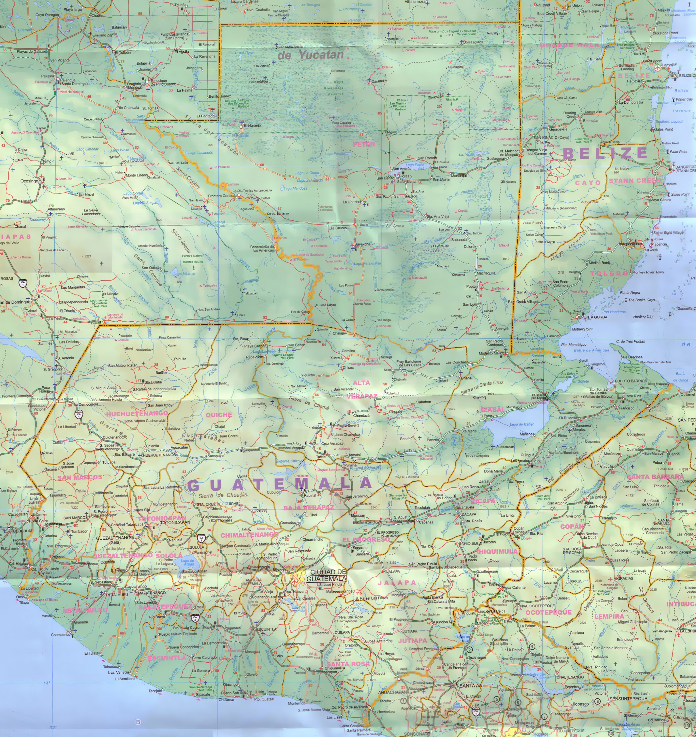 Large detailed road map of Guatemala Guatemala large detailed road