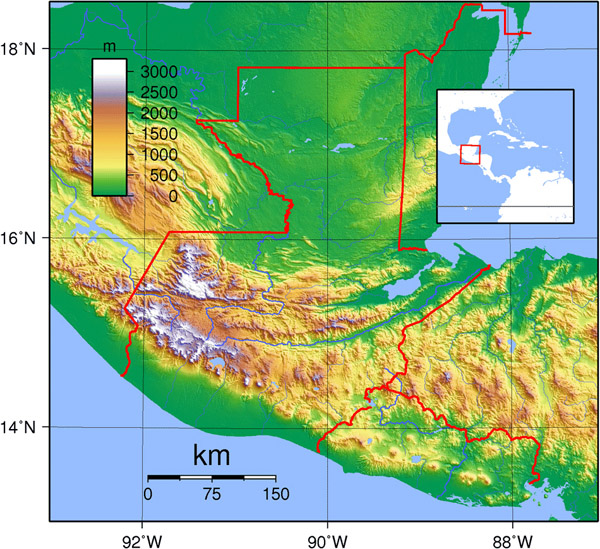 Large detailed topographical map of Guatemala.