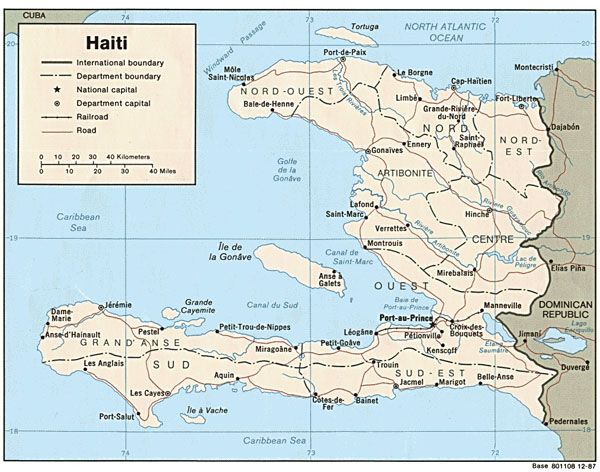 Detailed administrative map of Haiti. Haiti detailed administrative map.