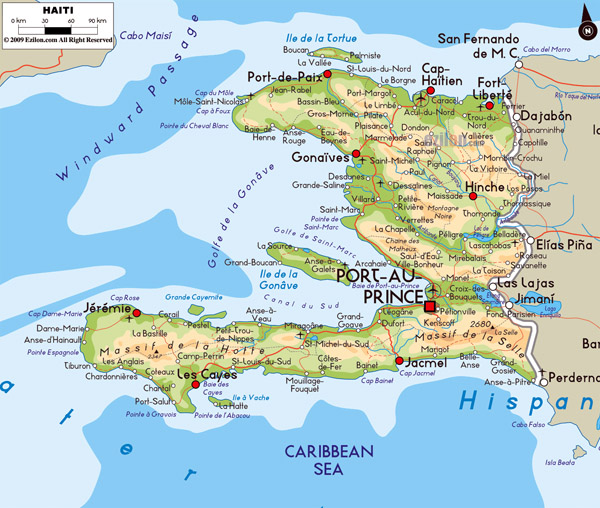 Detailed political and physical map of Haiti.