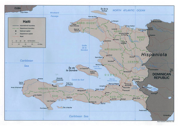 Detailed political map of Haiti. Haiti detailed political map.