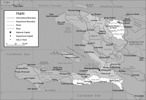 Detailed road and administrative map of Haiti.