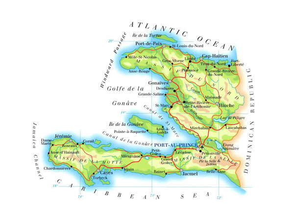Detailed road and physical map of Haiti. Haiti detailed road and physical map.