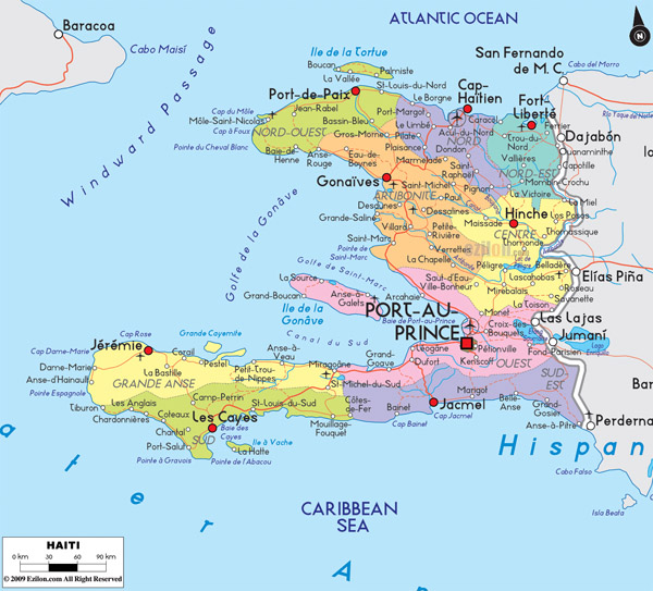 Large detailed political and road map of Haiti with cities.