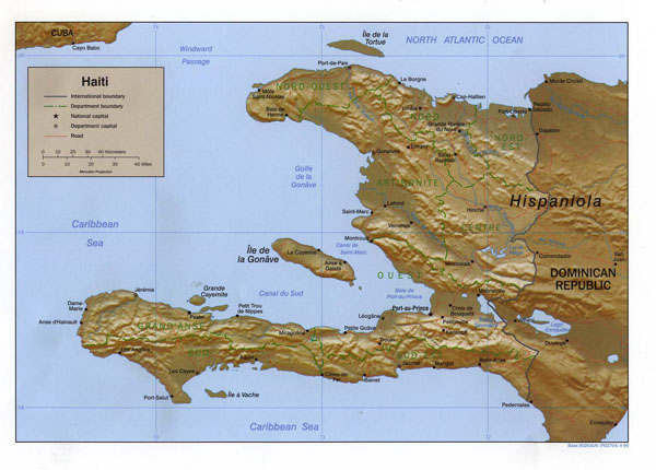 Large detailed relief and administrative map of Haiti.