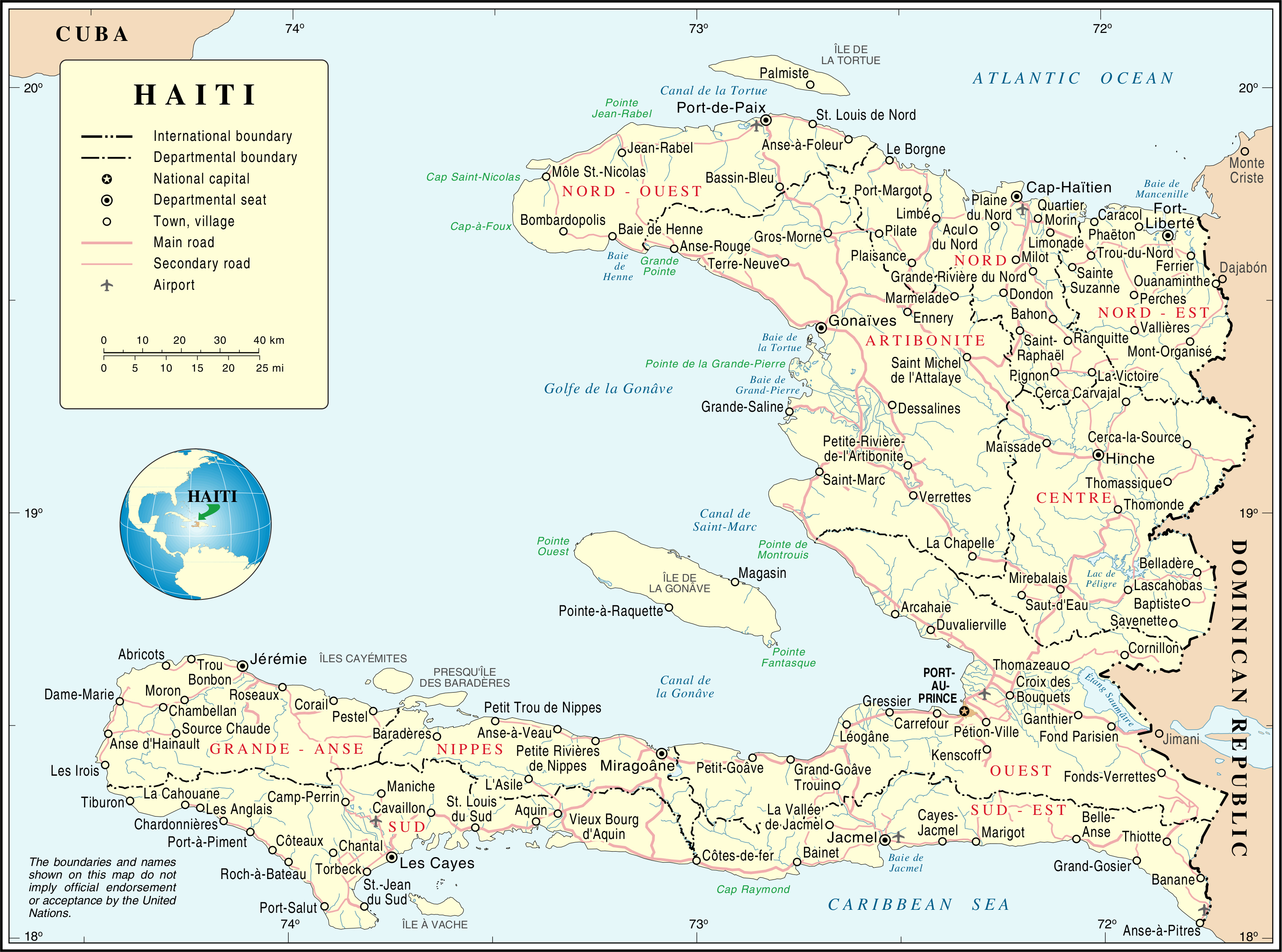 Large detailed road and administrative map of Haiti Haiti large