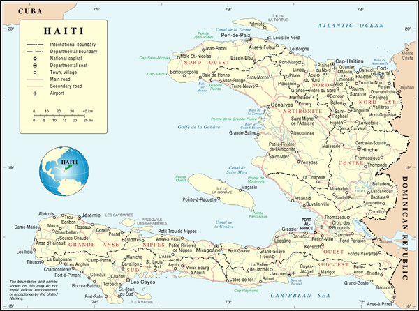 Large detailed road and administrative map of Haiti.