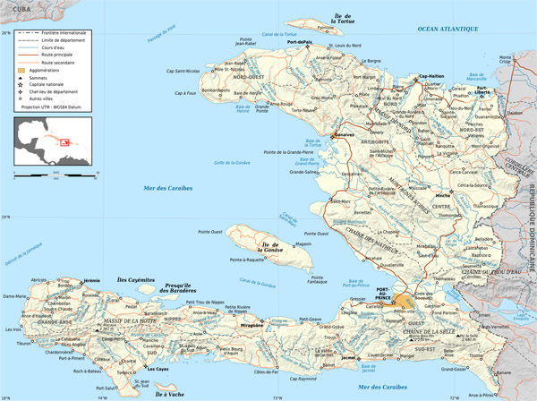 Large detailed road and political map of Haiti.