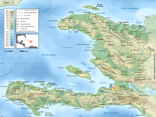 Large detailed topographical map of Haiti.