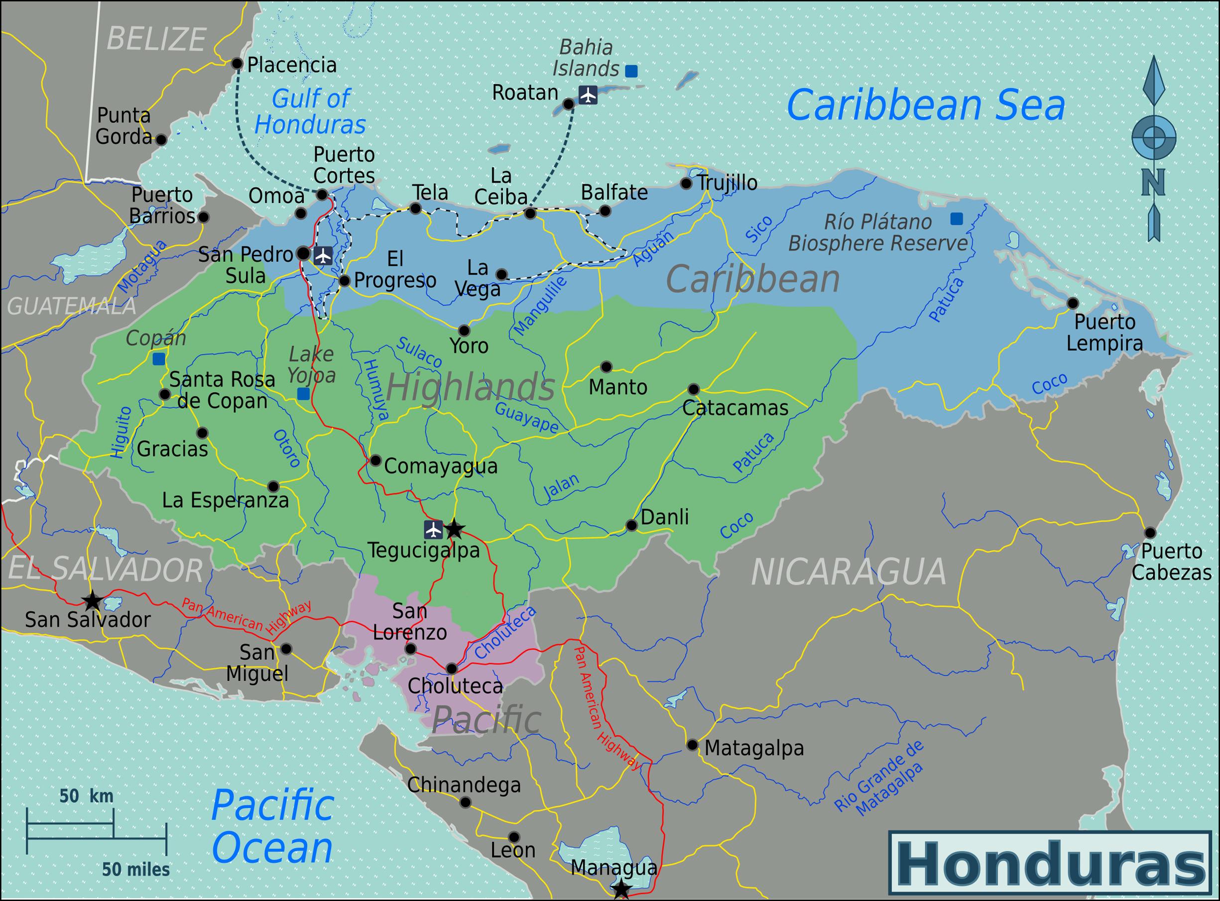 Detailed political map of Honduras. Honduras detailed political map ...