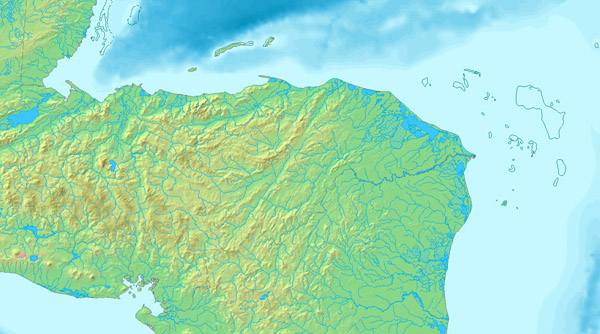 Detailed relief map of Honduras. Honduras detailed relief map.