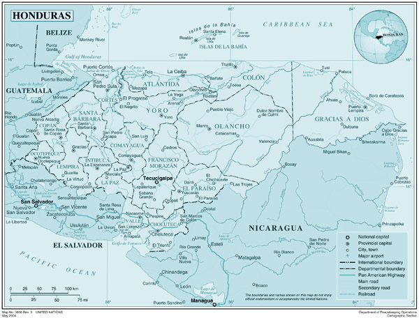 Honduras detailed map. Detailed map of Honduras.