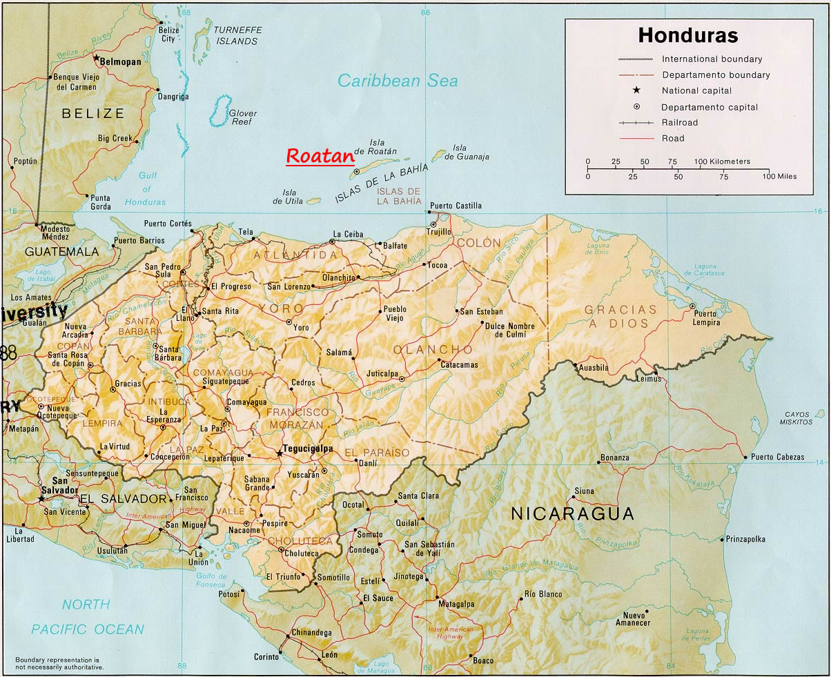 Large detailed administrative and relief map of Honduras Honduras