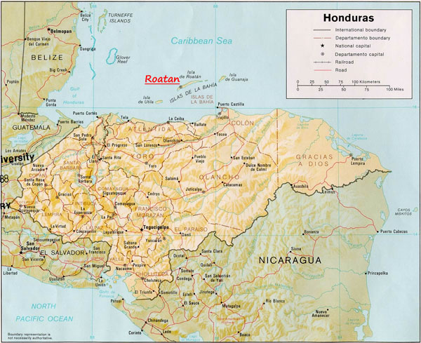 Large detailed administrative and relief map of Honduras.