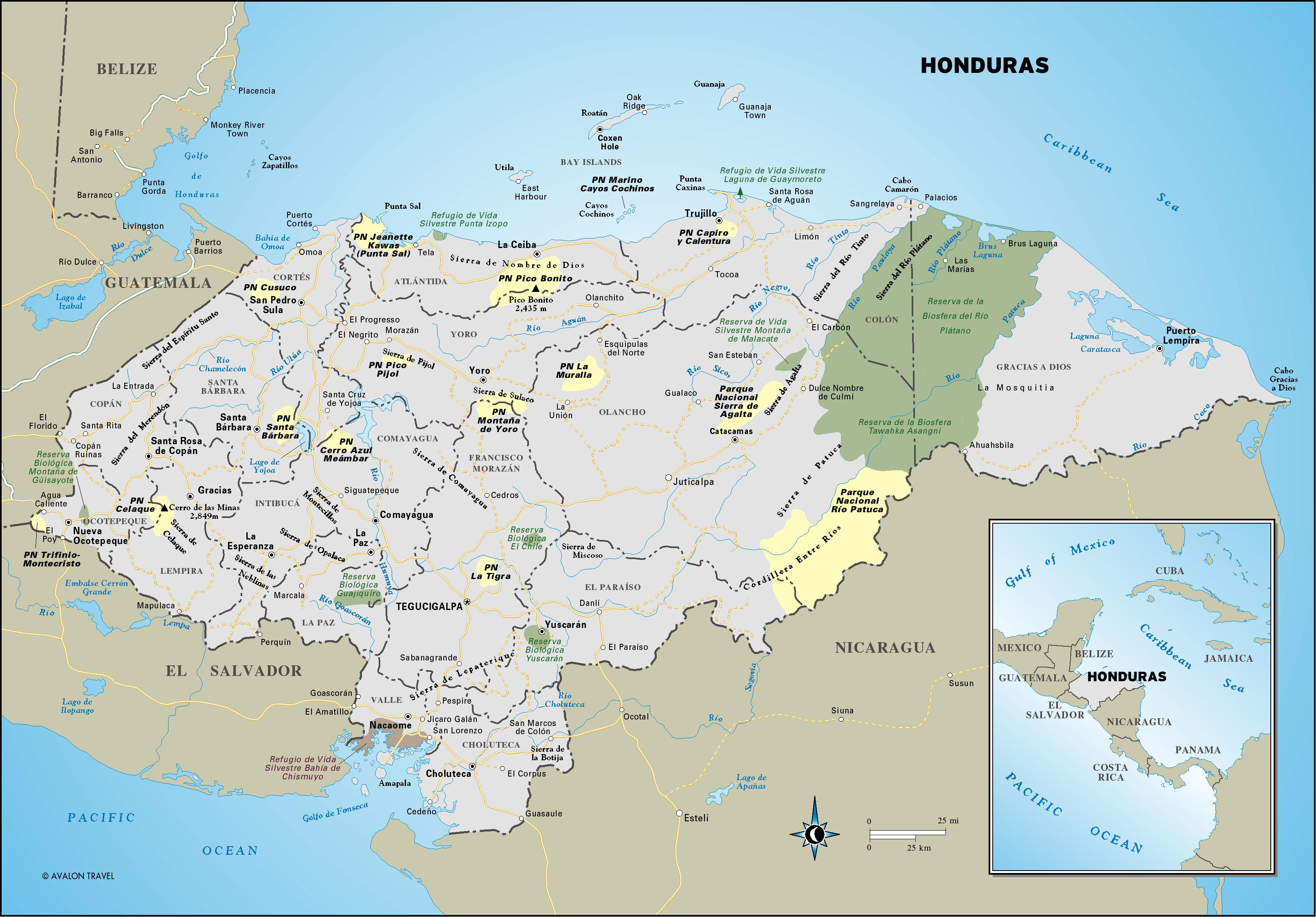 Large detailed administrative and road map of Honduras. Honduras ...