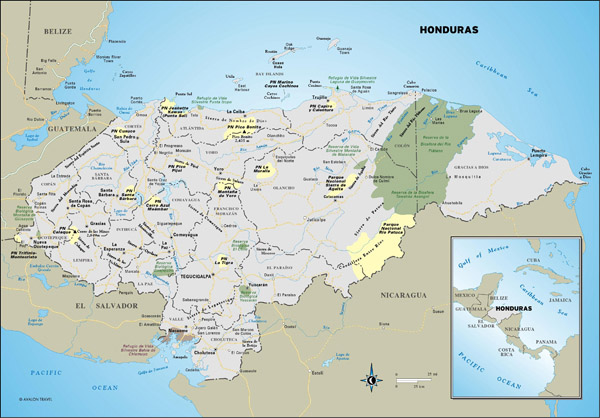 Large detailed administrative and road map of Honduras.