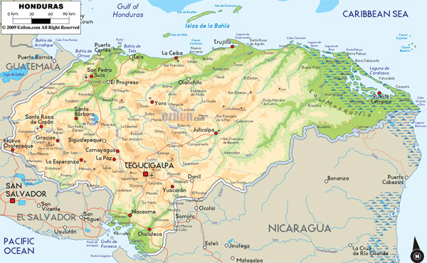 Large detailed physical and road map of Honduras.