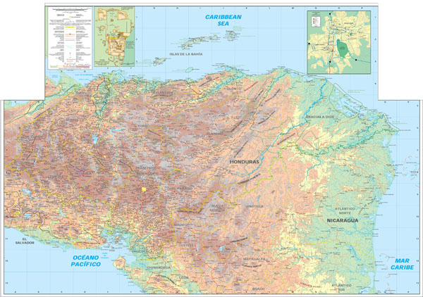 Large detailed physical and topographic map of Honduras.