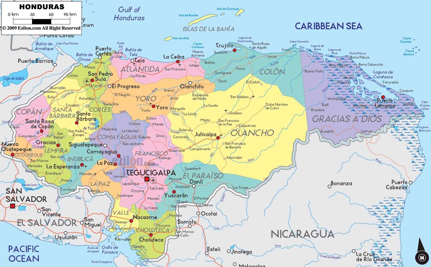 Large detailed political and administrative map of Honduras