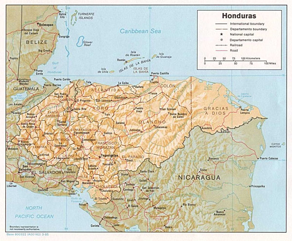 Large detailed political and relief map of Honduras.